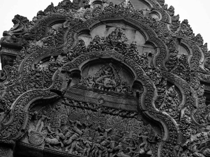 Detailed carvings at Banteay Srei Temple